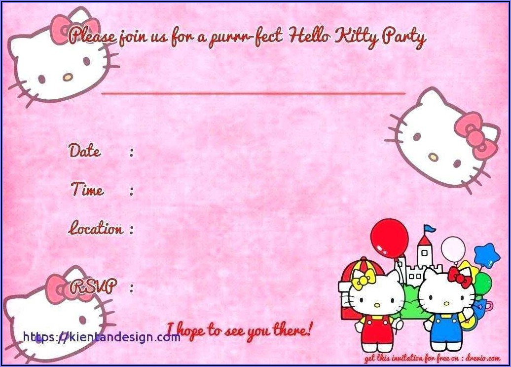 Hello Kitty Invitation Card For Birthday