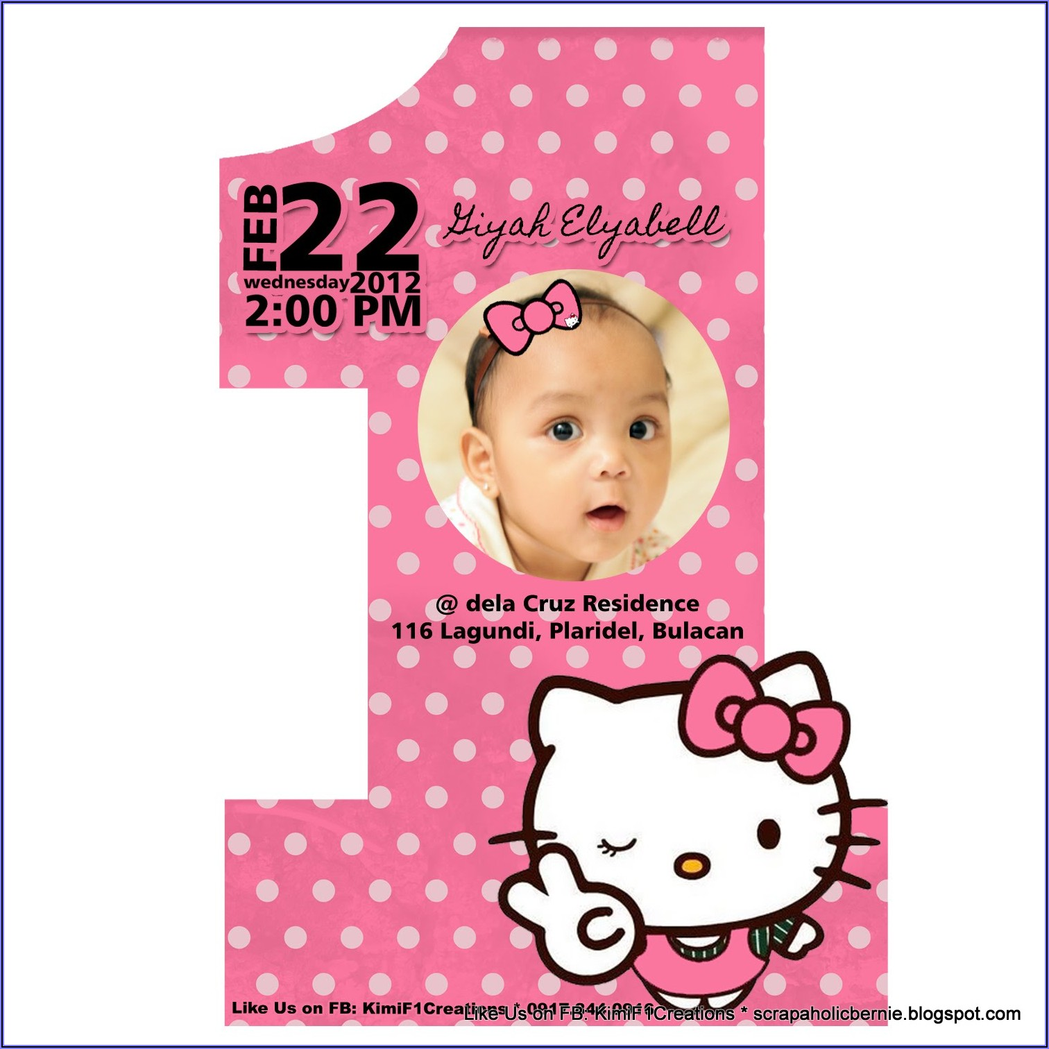 Hello Kitty Invitation Card For Christening