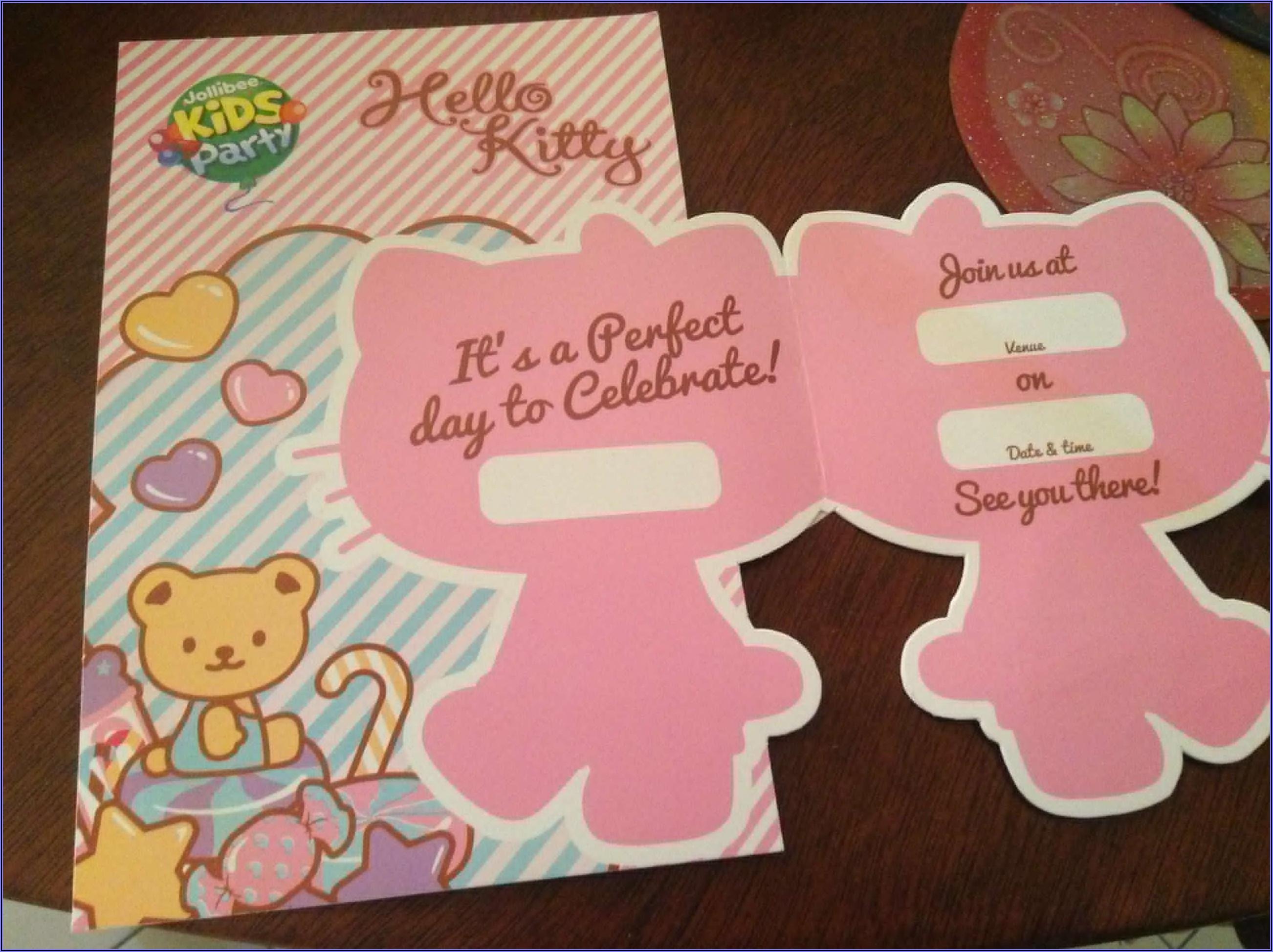 Hello Kitty Invitation Card Sample