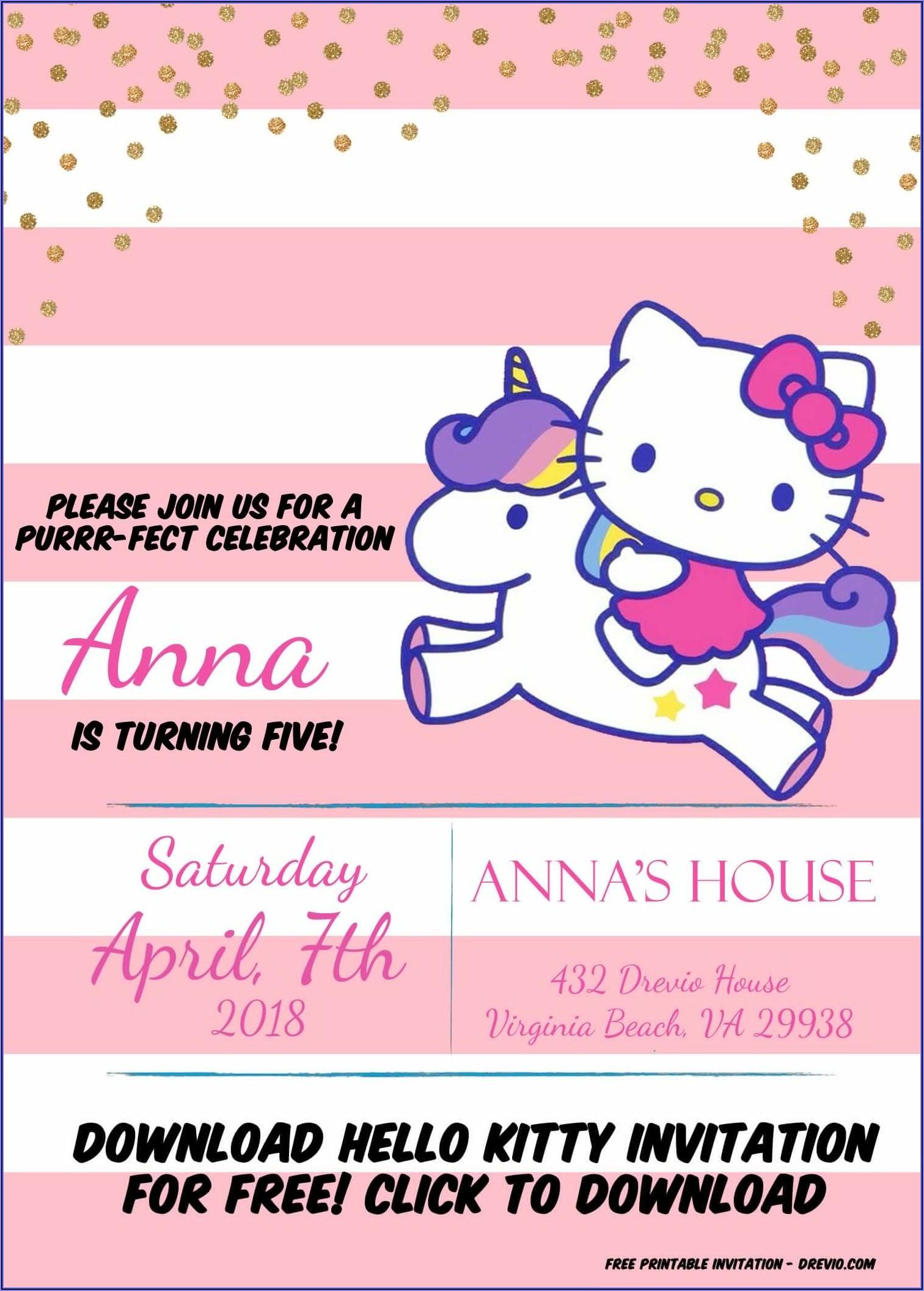 Hello Kitty Invitation Card Template Free