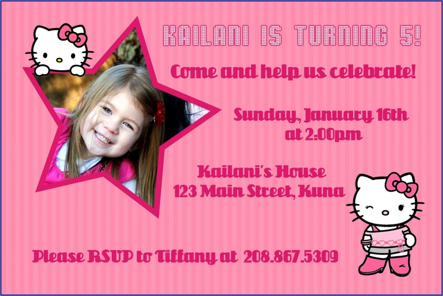 Hello Kitty Invitation Design