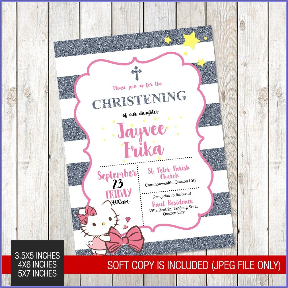 Hello Kitty Invitation Layout Christening