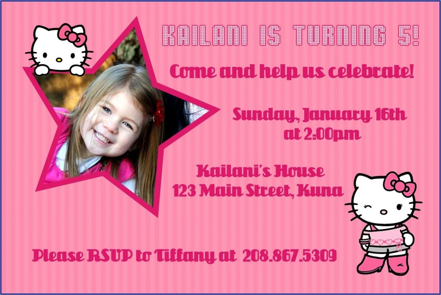 Hello Kitty Invitation Layout
