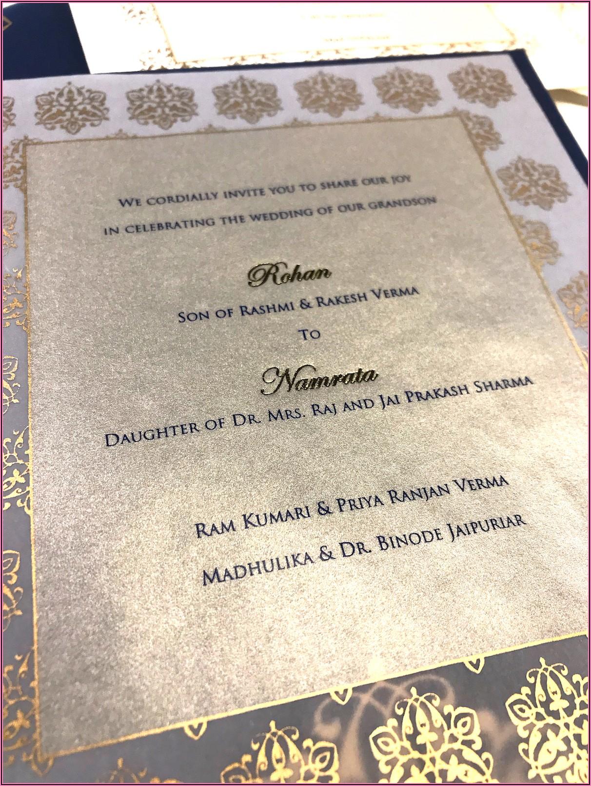 Hindu Wedding Invitation Card Content