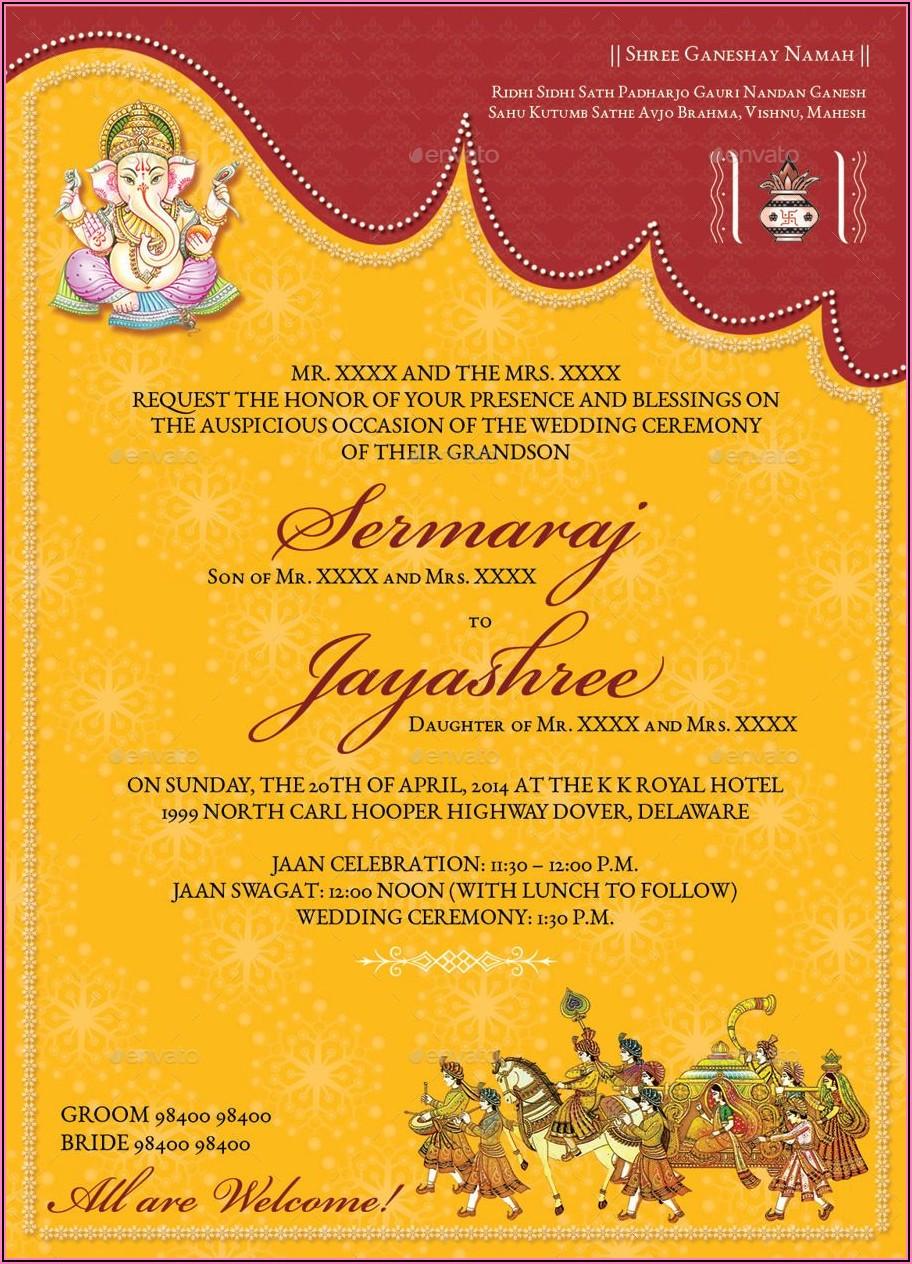 Hindu Wedding Invitation Card Format In English Editable