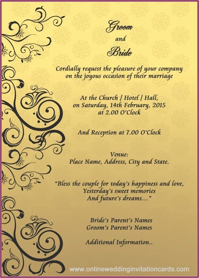 Hindu Wedding Invitation Card Template Editable