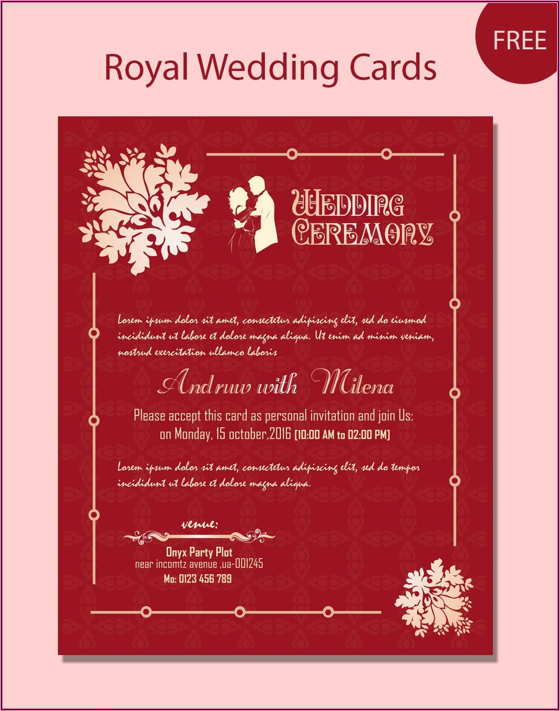 Hindu Wedding Invitation Card Template