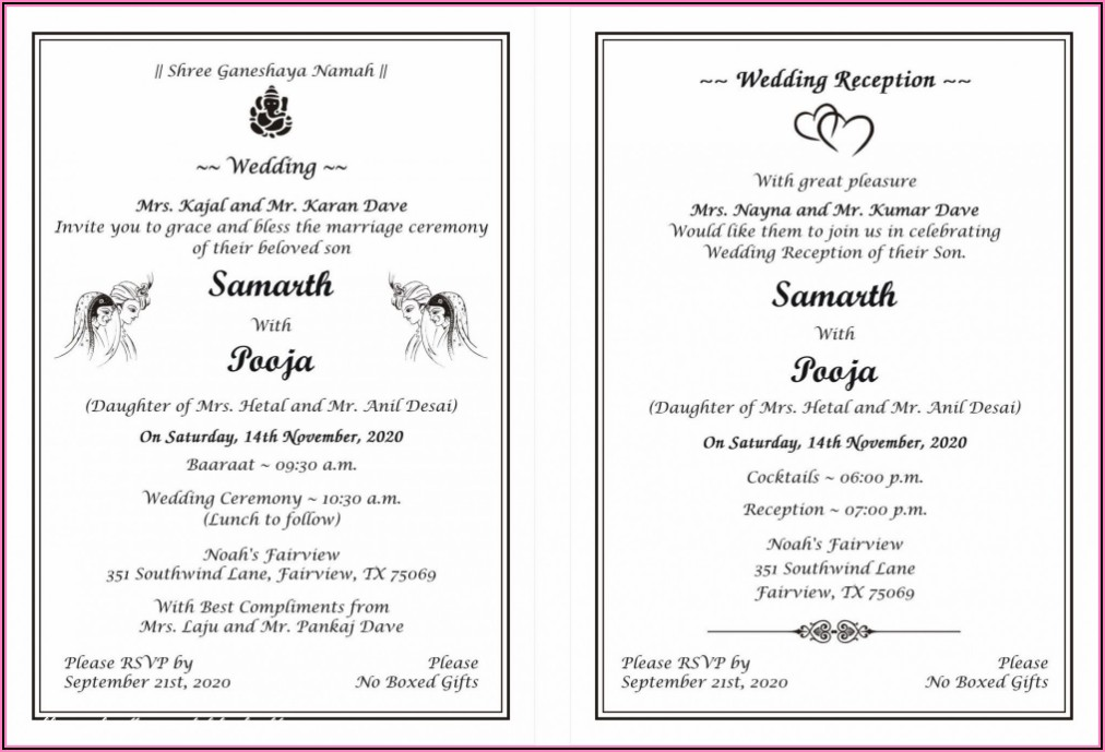 Hindu Wedding Invitation Card