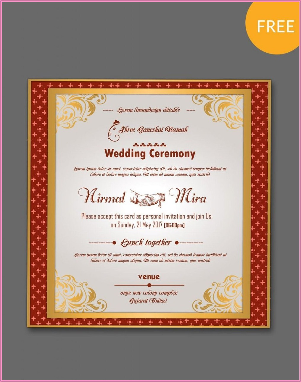 Hindu Wedding Invitation Cards Templates Free Download