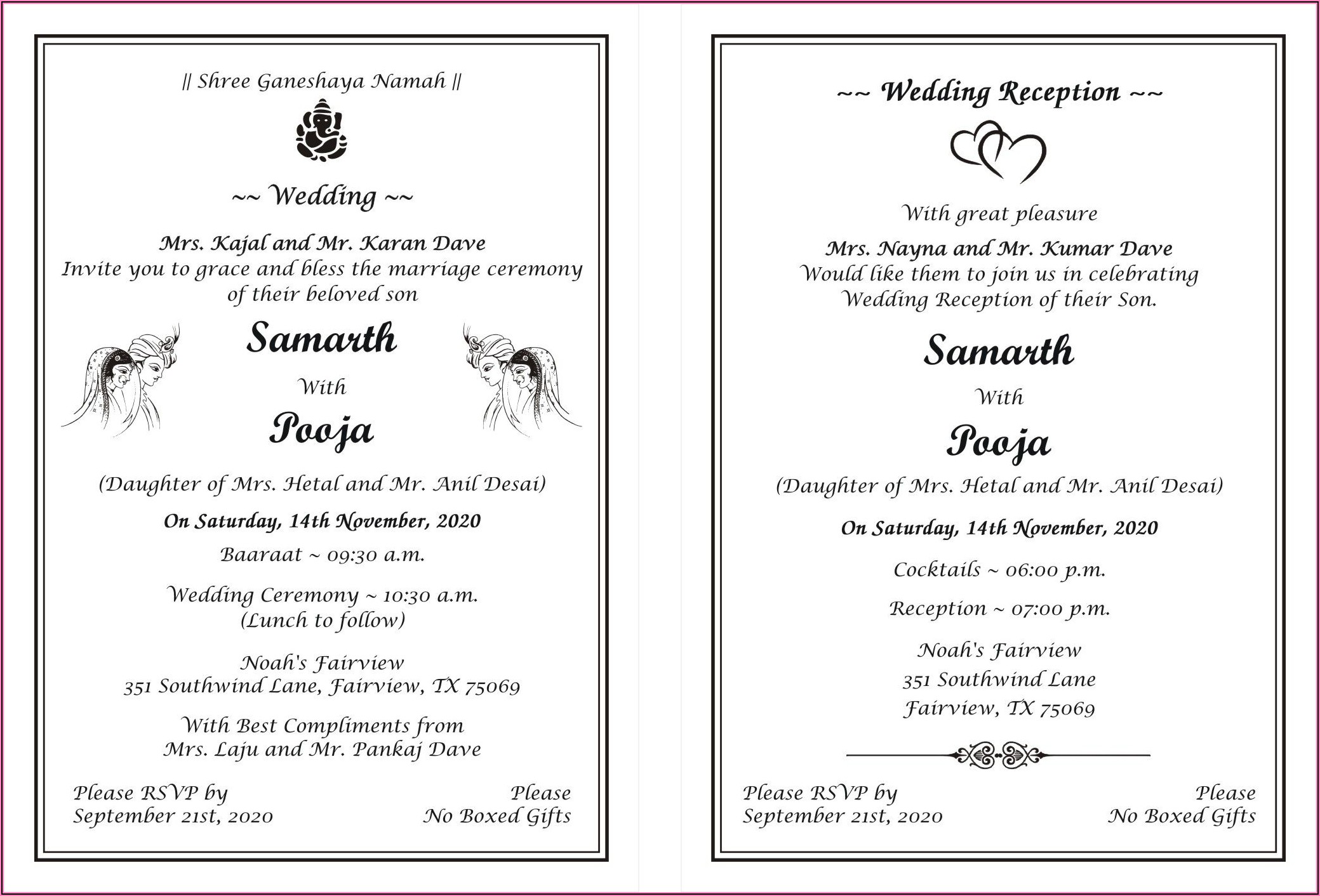 Hindu Wedding Invitation In English