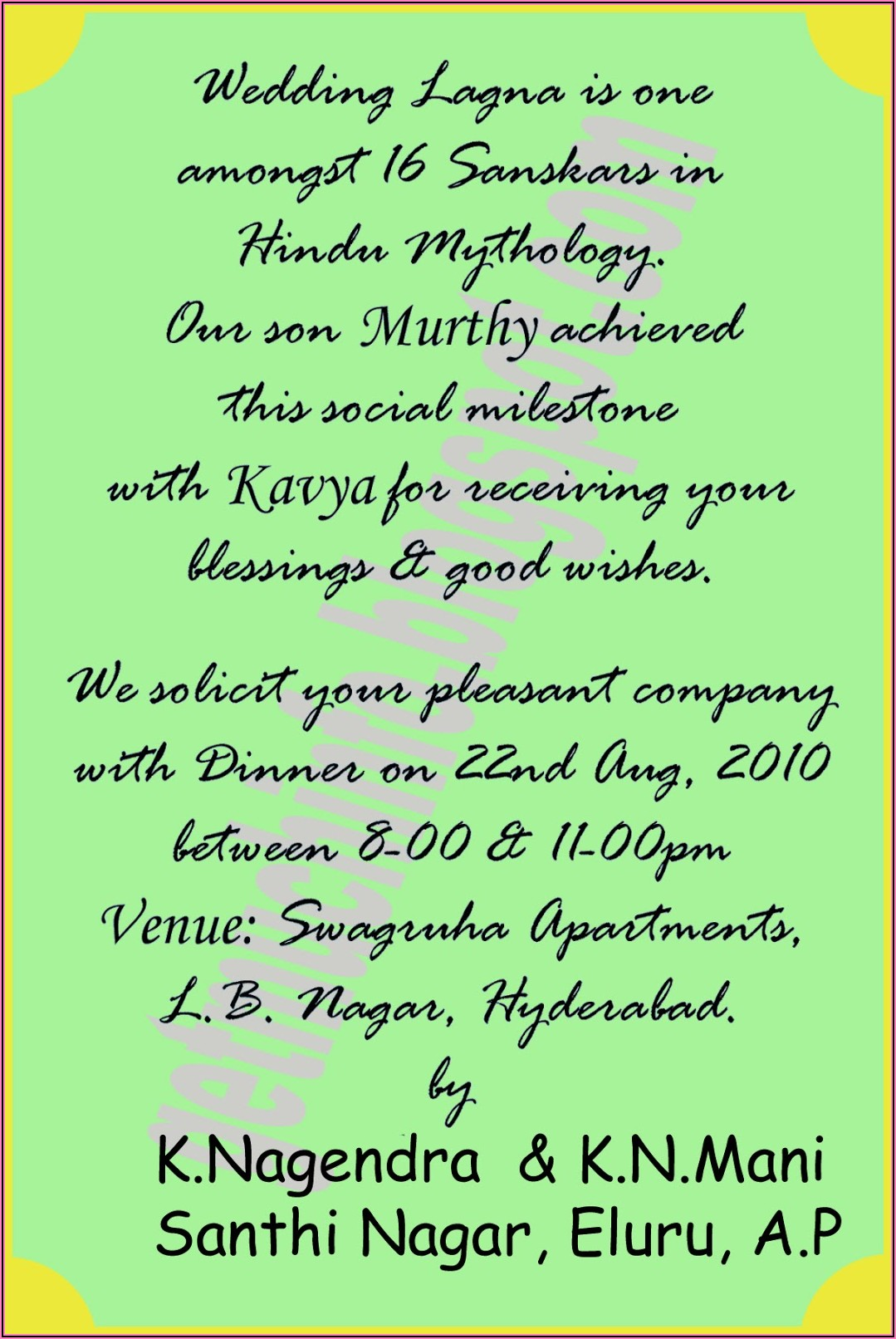 Hindu Wedding Invitation Matter In English