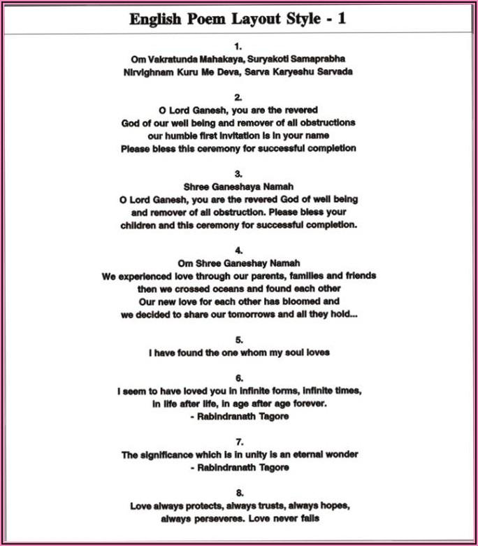 Hindu Wedding Invitation Quotes In English