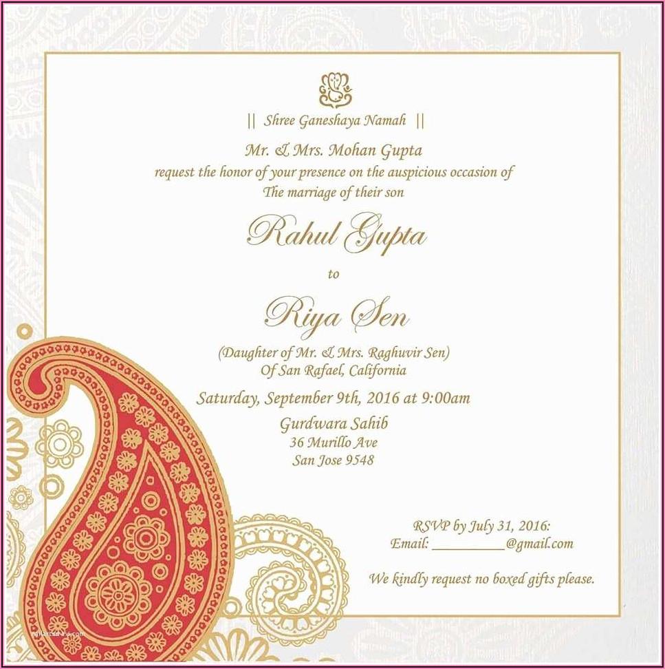 Hindu Wedding Invitation Wording Templates