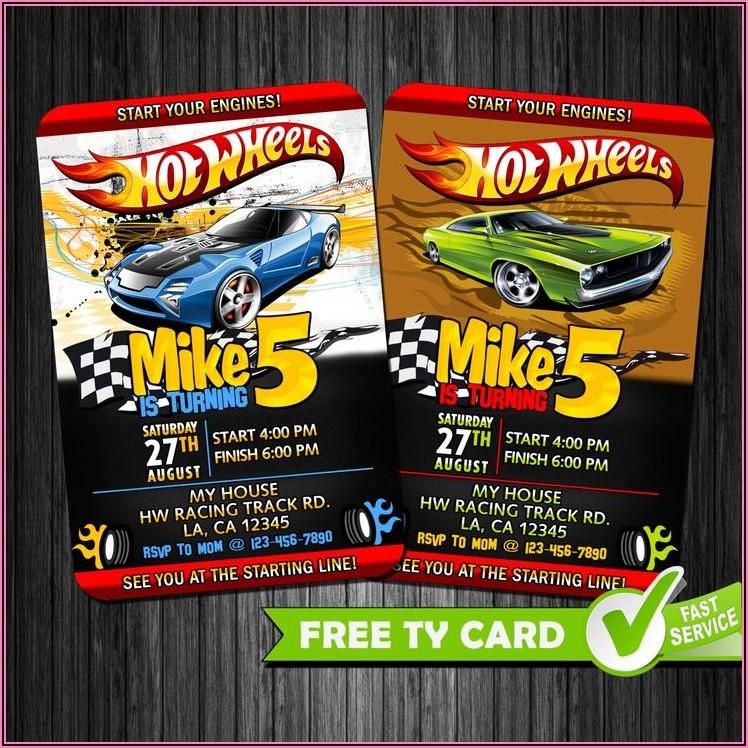 Hot Wheels Birthday Invitation Cards
