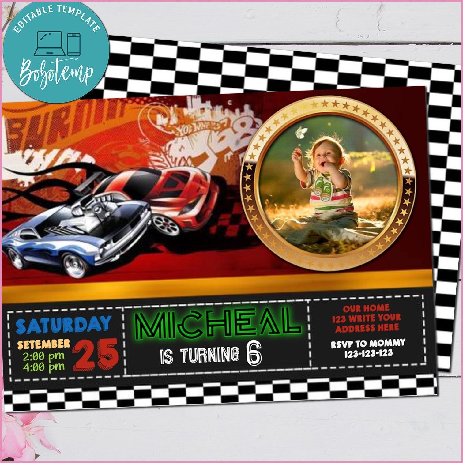 Hot Wheels Birthday Invitation With Photo