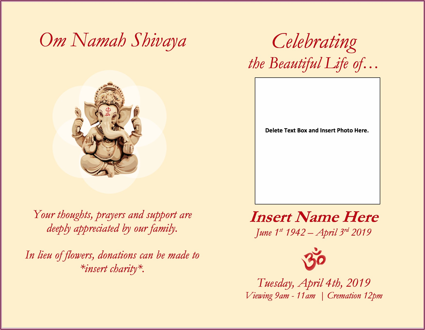 Indian Funeral Invitation Template Word