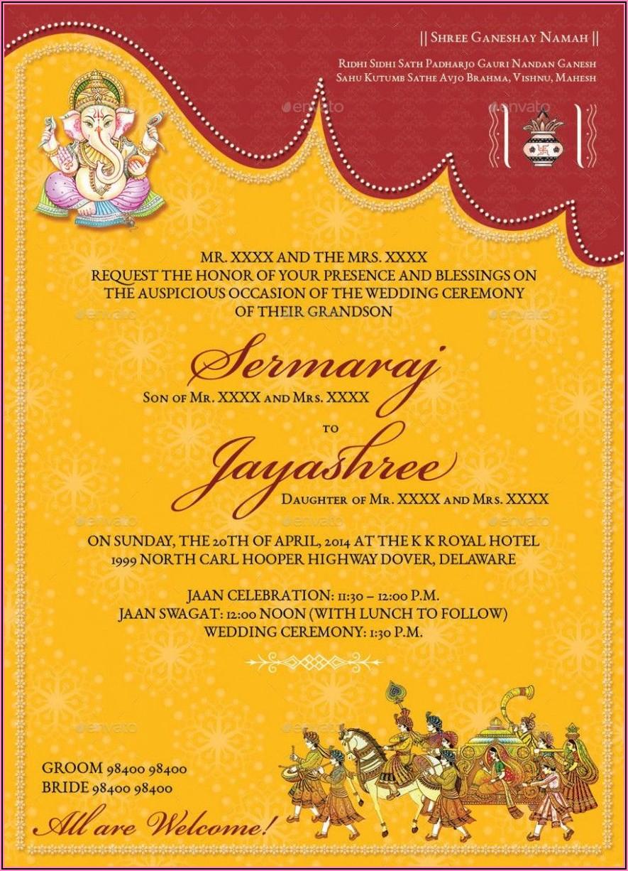 Indian Wedding Invitation Card Format