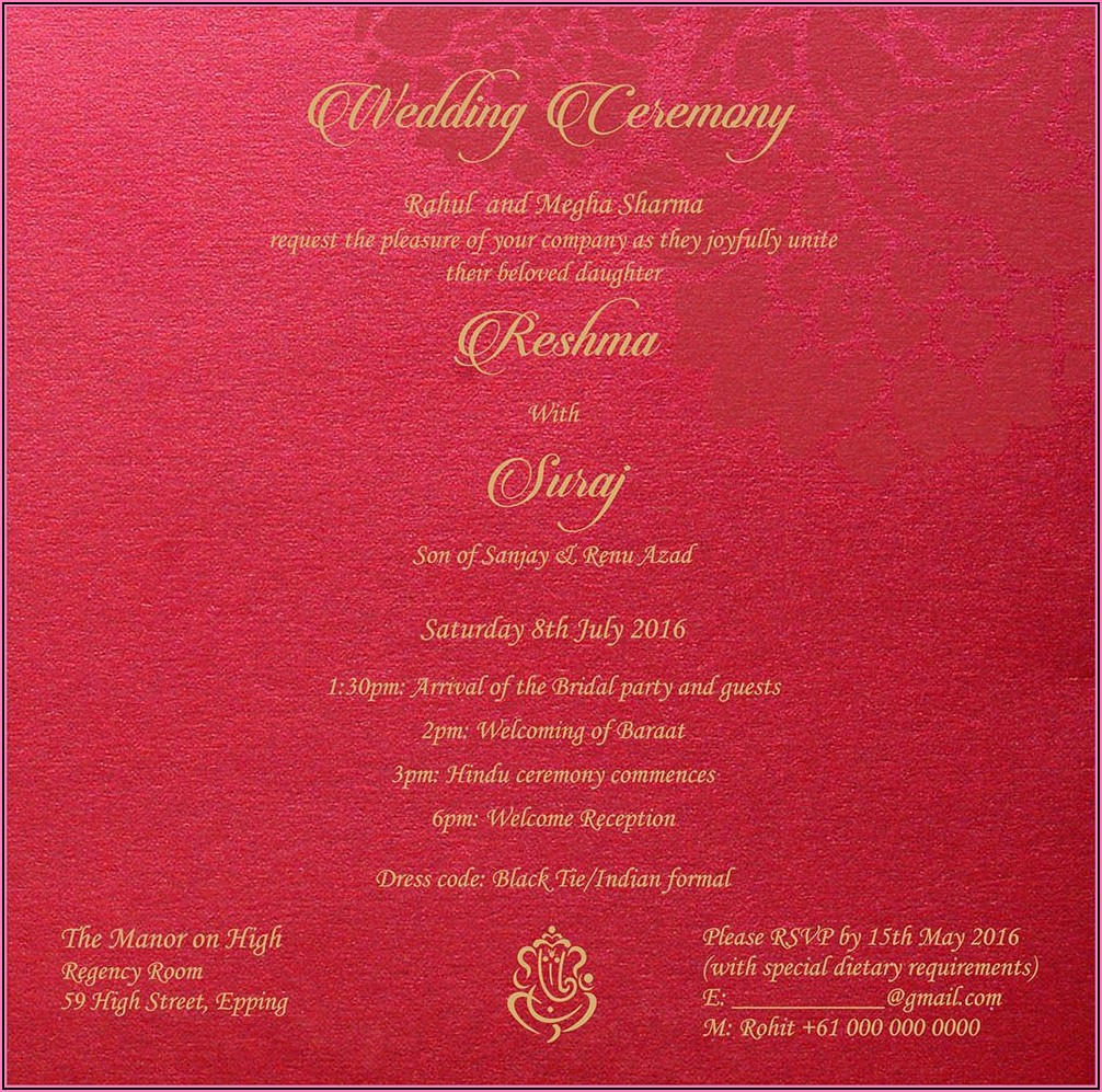 Indian Wedding Invitation Examples