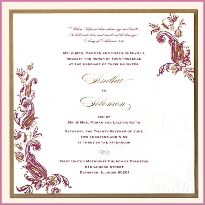 Indian Wedding Invitation Letter In English