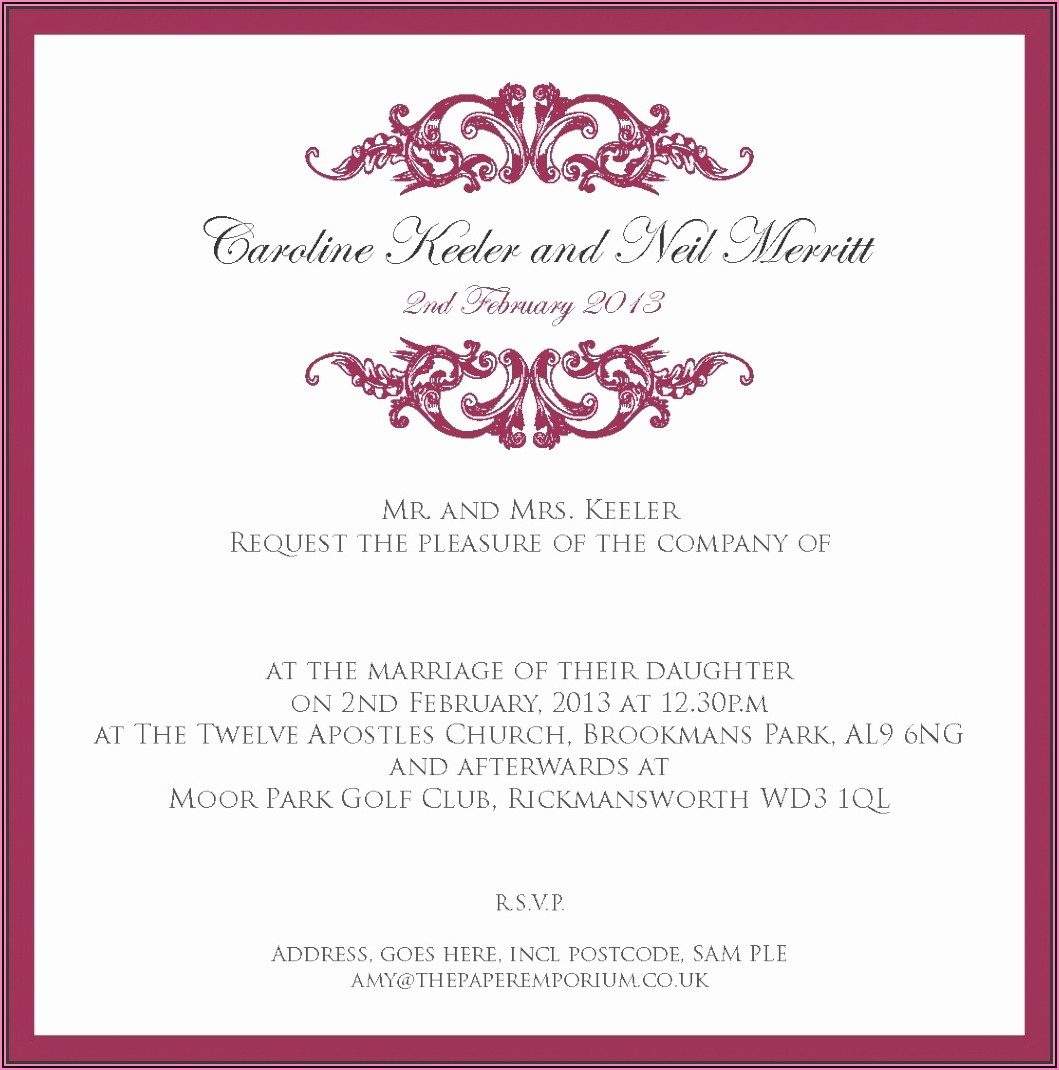 Indian Wedding Invitation Templates Word Document