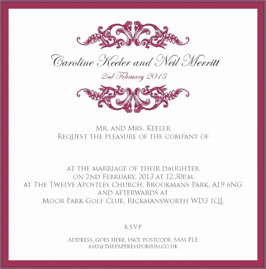 Indian Wedding Invitation Templates Word Document