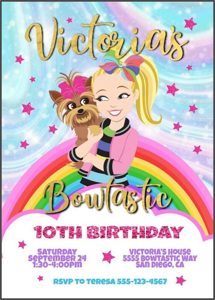 Jojo Siwa Birthday Invitations Digital