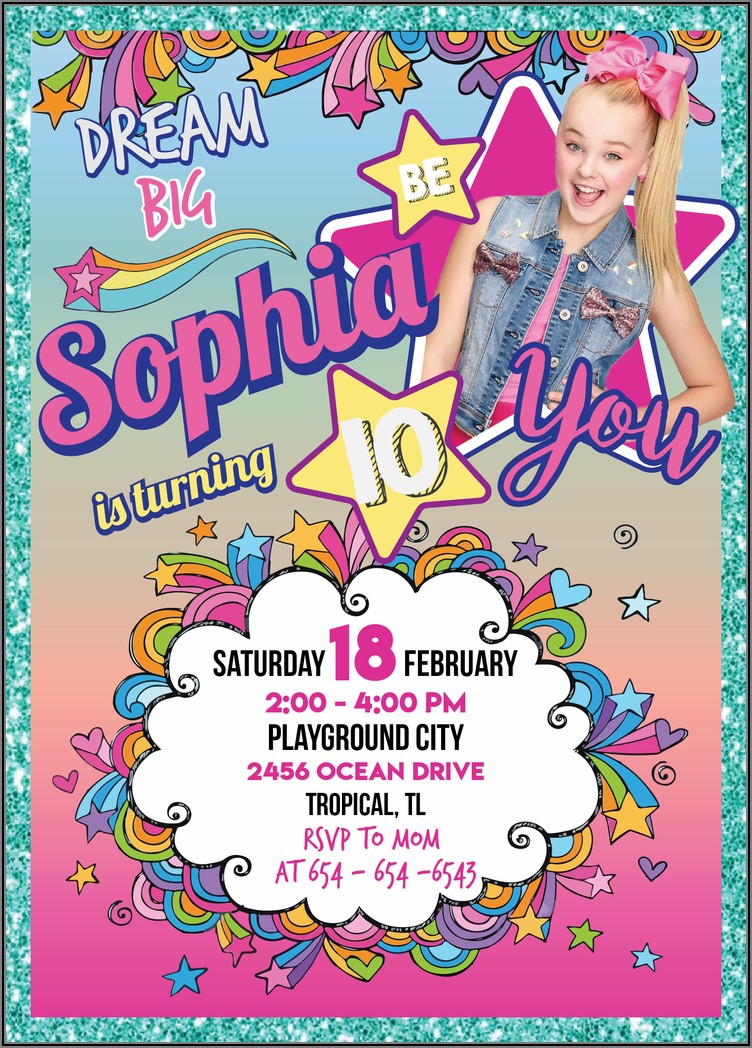 Jojo Siwa Birthday Party Invitation Template