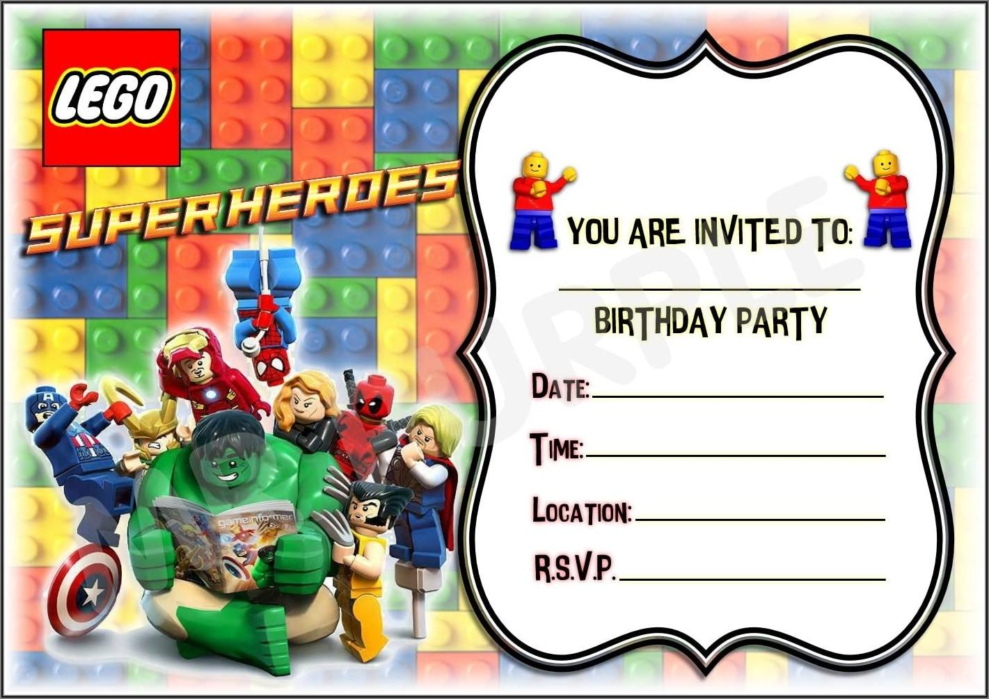 Lego Marvel Birthday Invitations