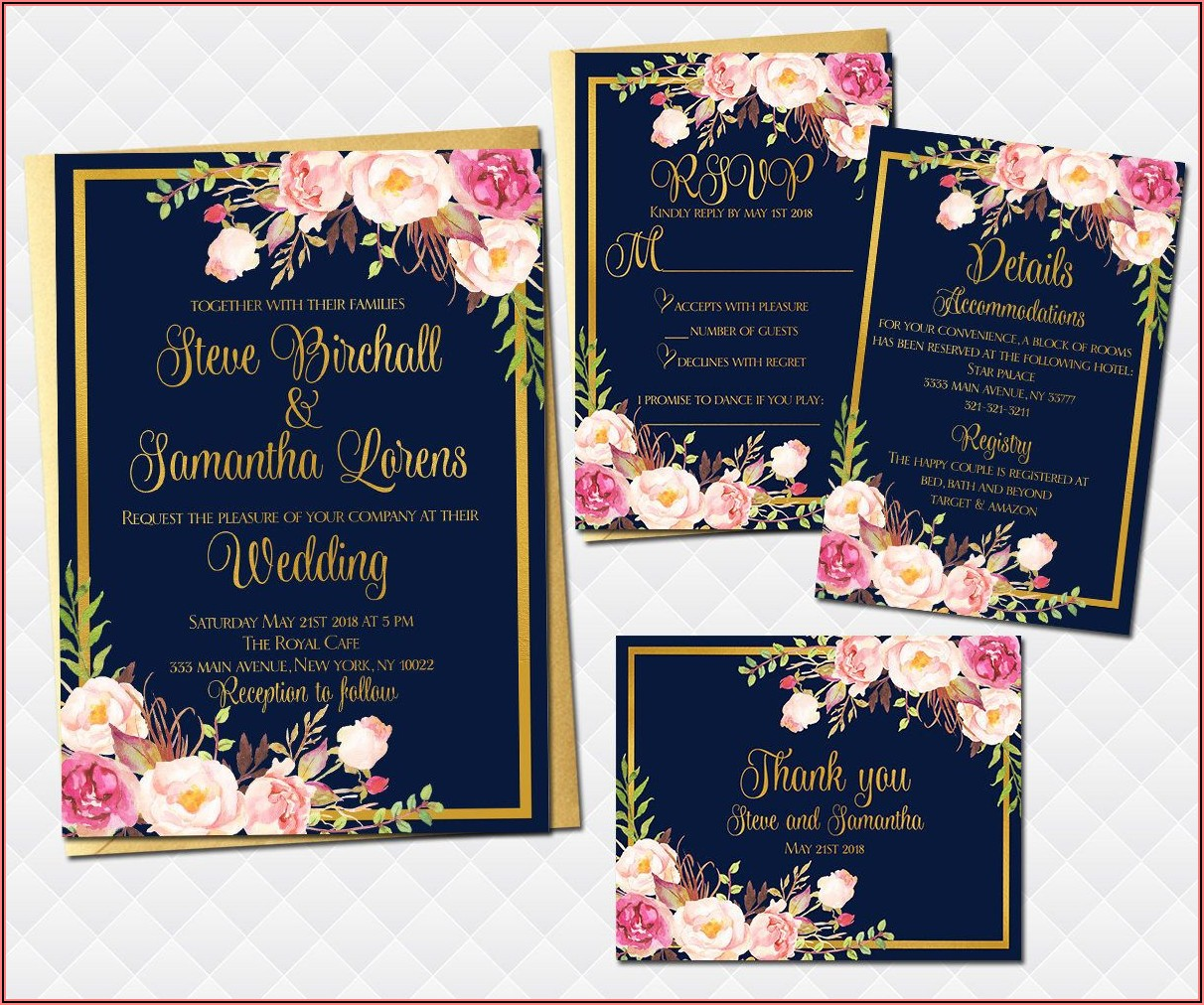 Light Pink And Navy Blue Wedding Invitations