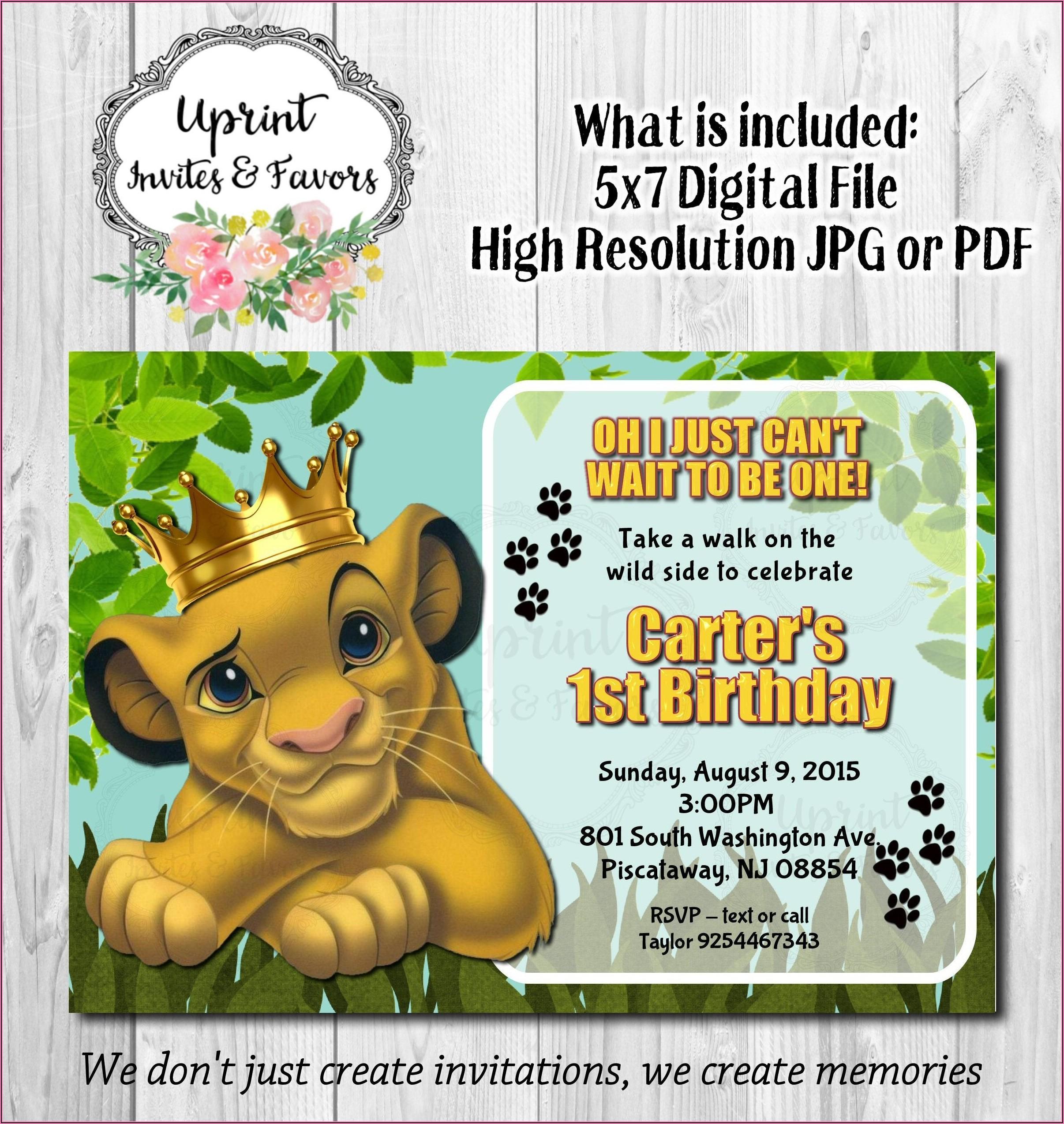 Lion King Birthday Invitations