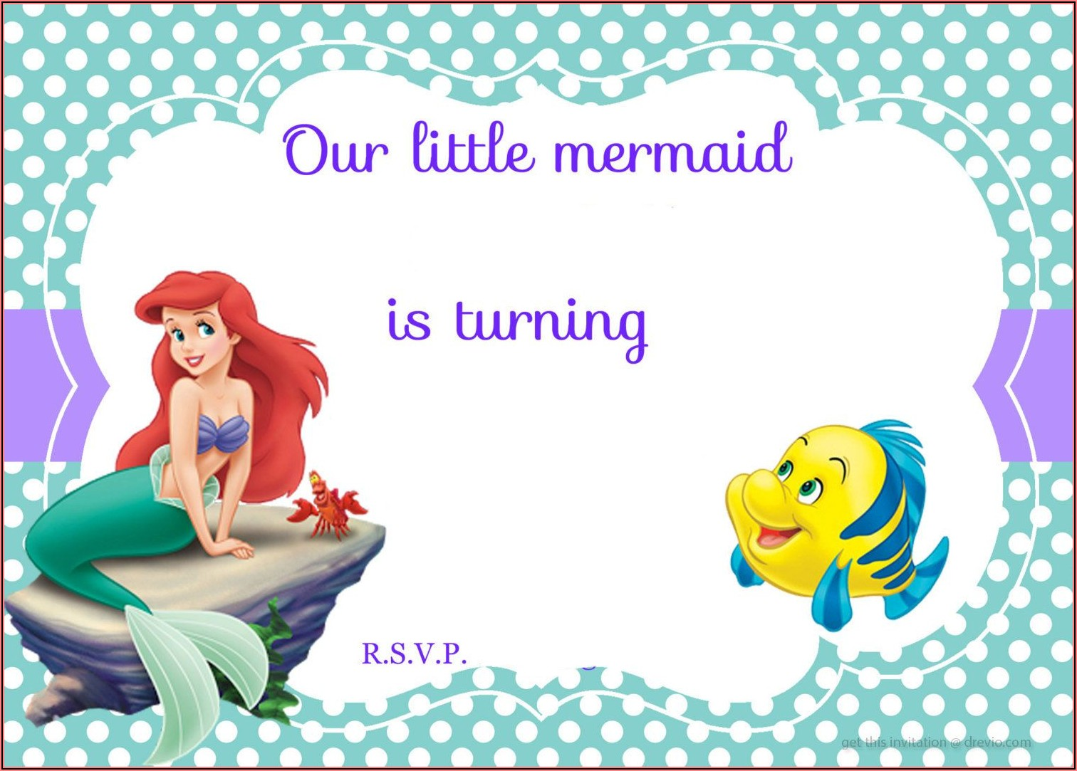 Little Mermaid Party Invitation Template
