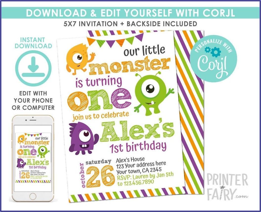 Little Monster First Birthday Invitations
