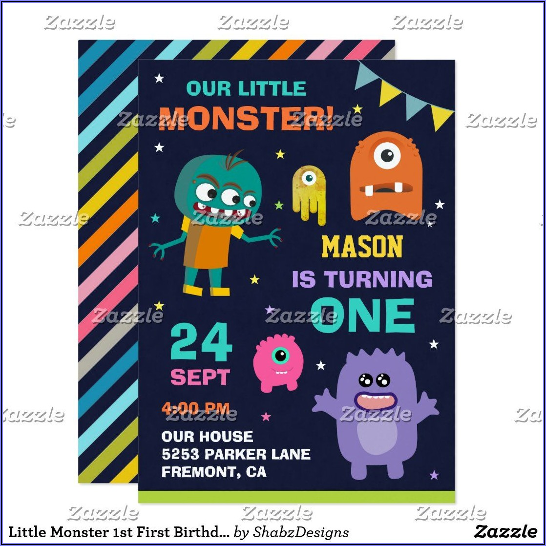 Little Monster First Birthday Party Invitations