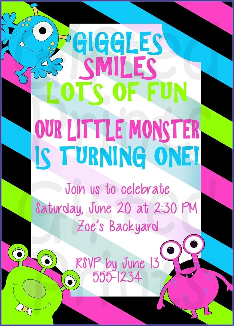 Little Monster Themed Birthday Invitations