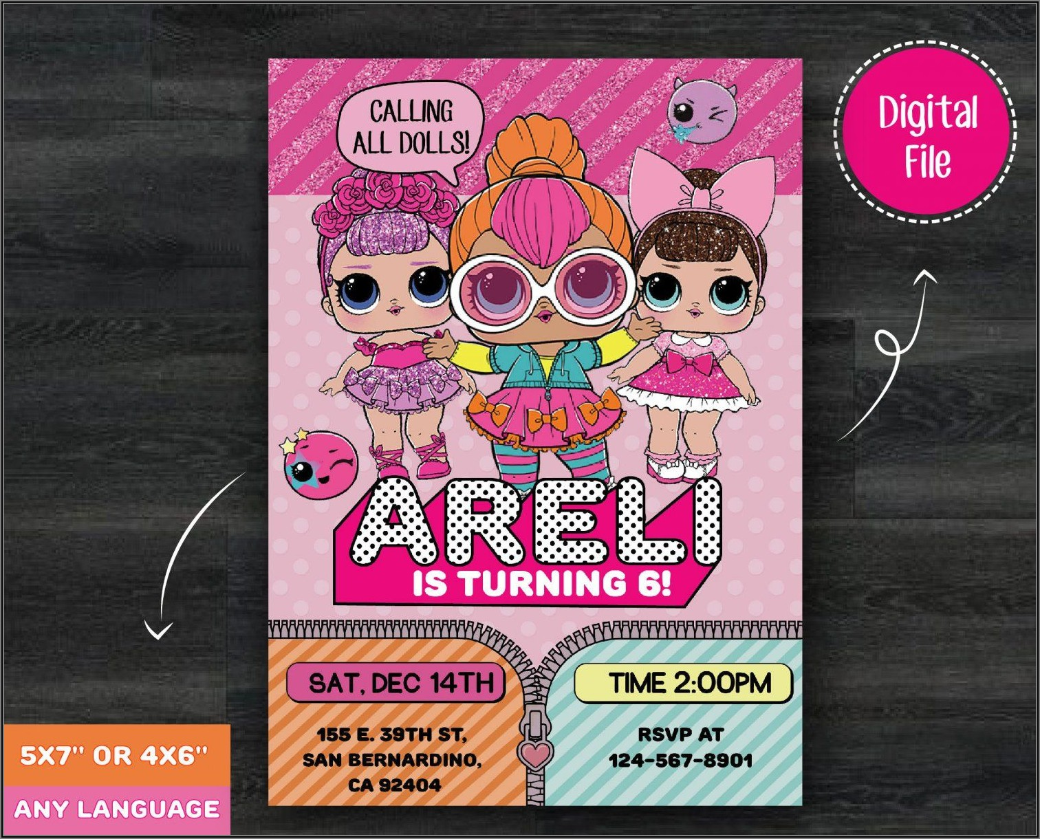 Lol Doll Birthday Invitation