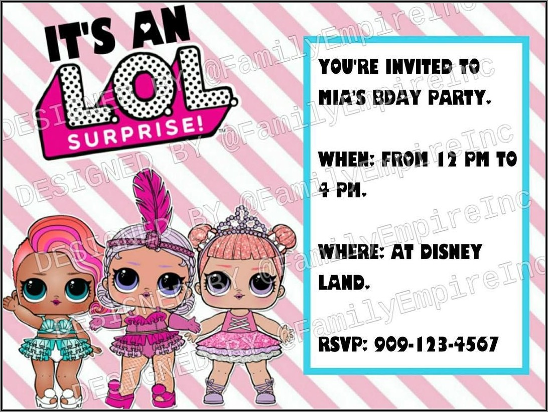 Lol Surprise Doll Birthday Party Invitations