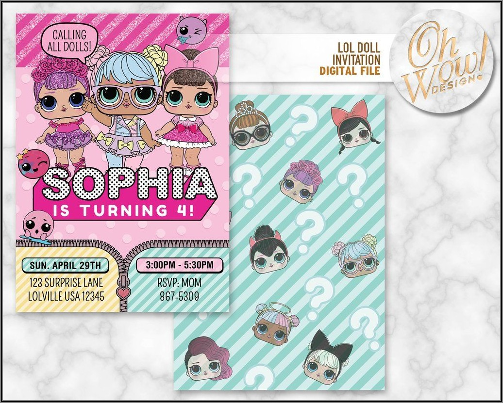 Lol Surprise Doll Digital Invitations