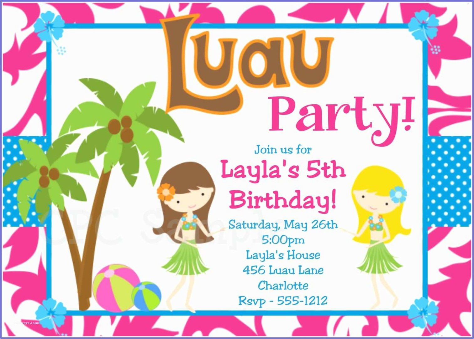 Luau Birthday Invitations Online
