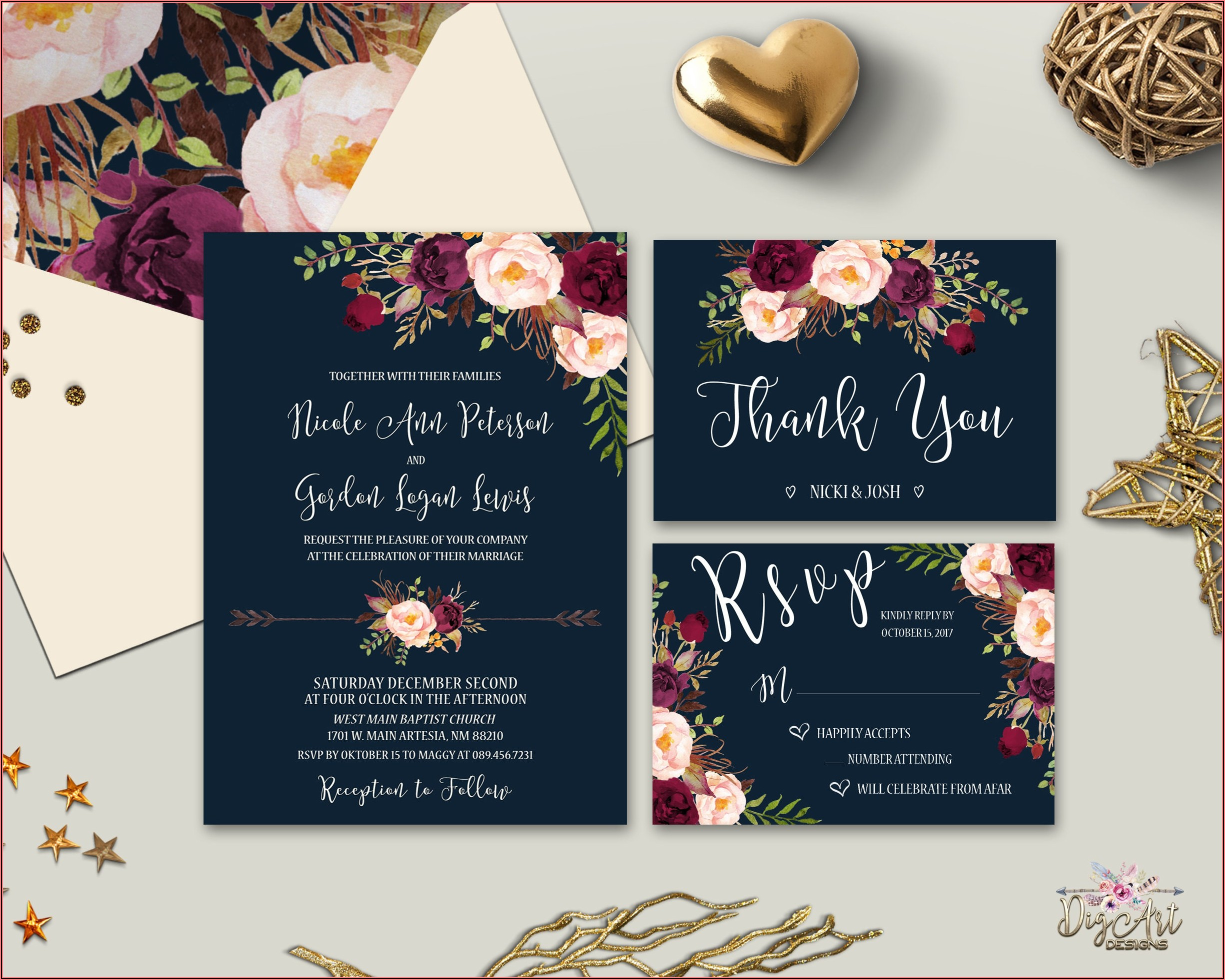 Maroon And Navy Blue Wedding Invitations