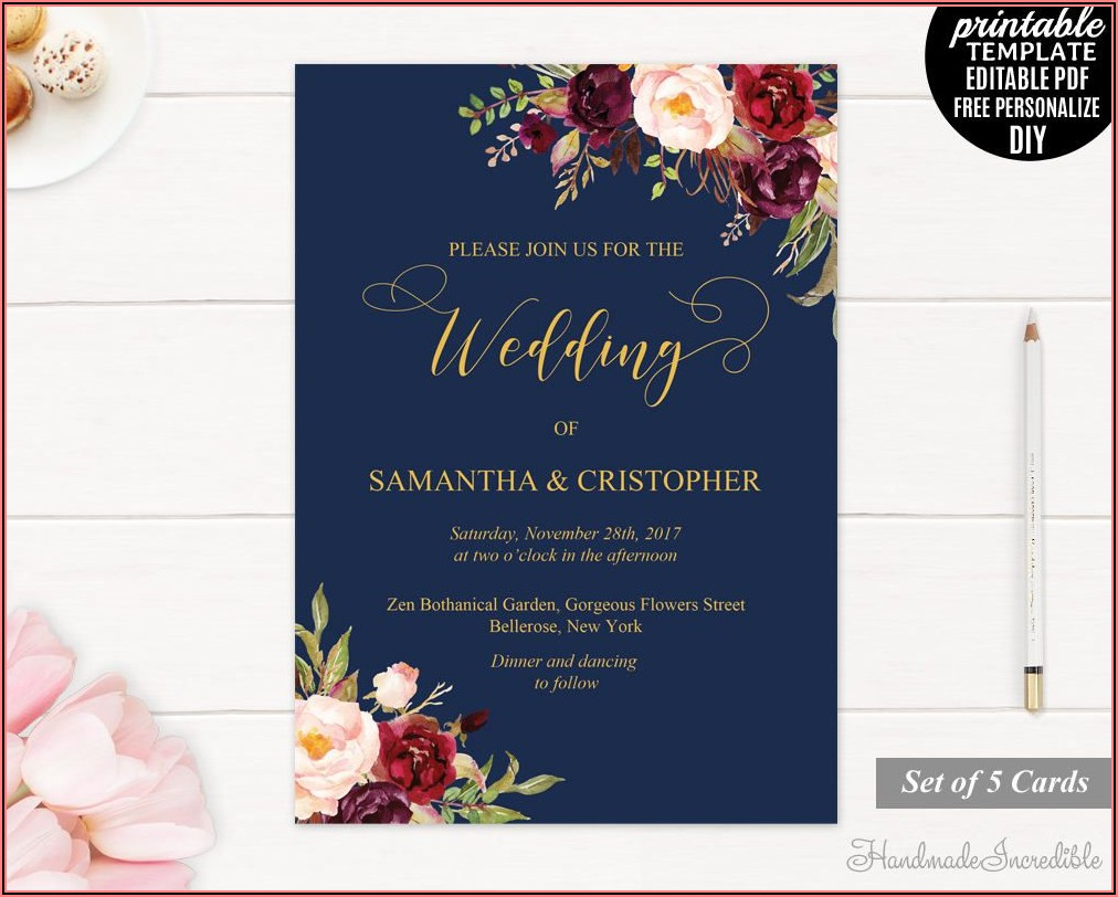 Maroon Navy And Gold Wedding Invitations