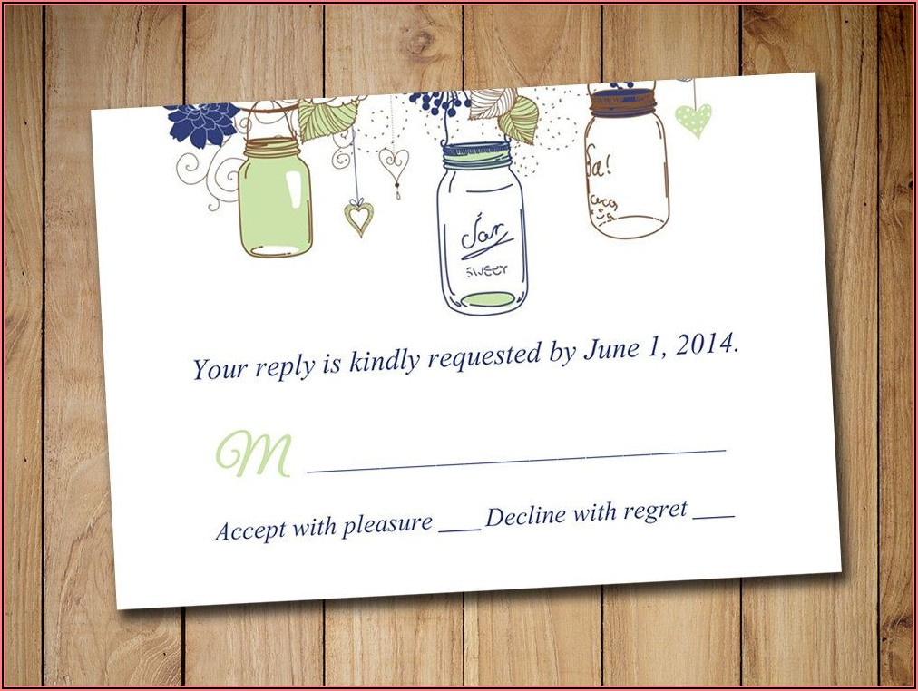 Mason Jar Wedding Invitations With Rsvp Cards