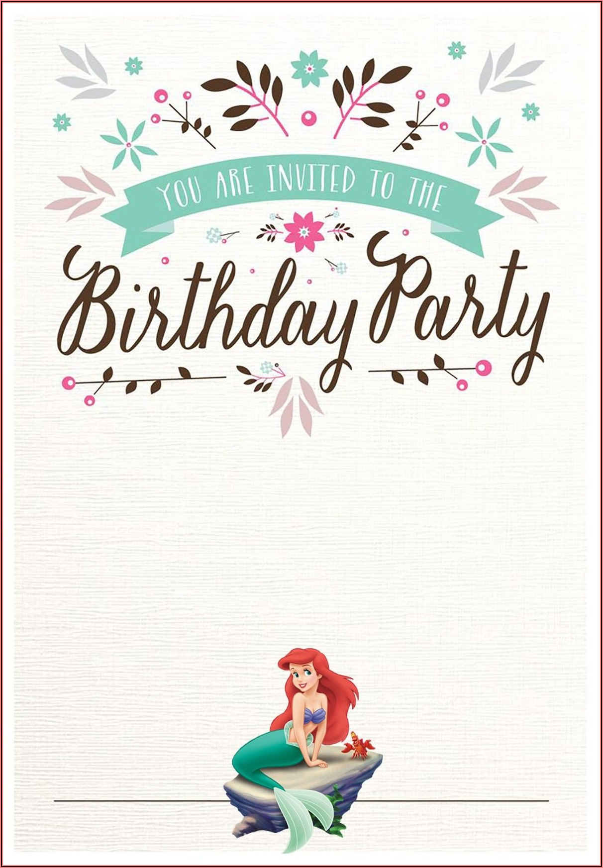 Mermaid Birthday Invitation Templates Free