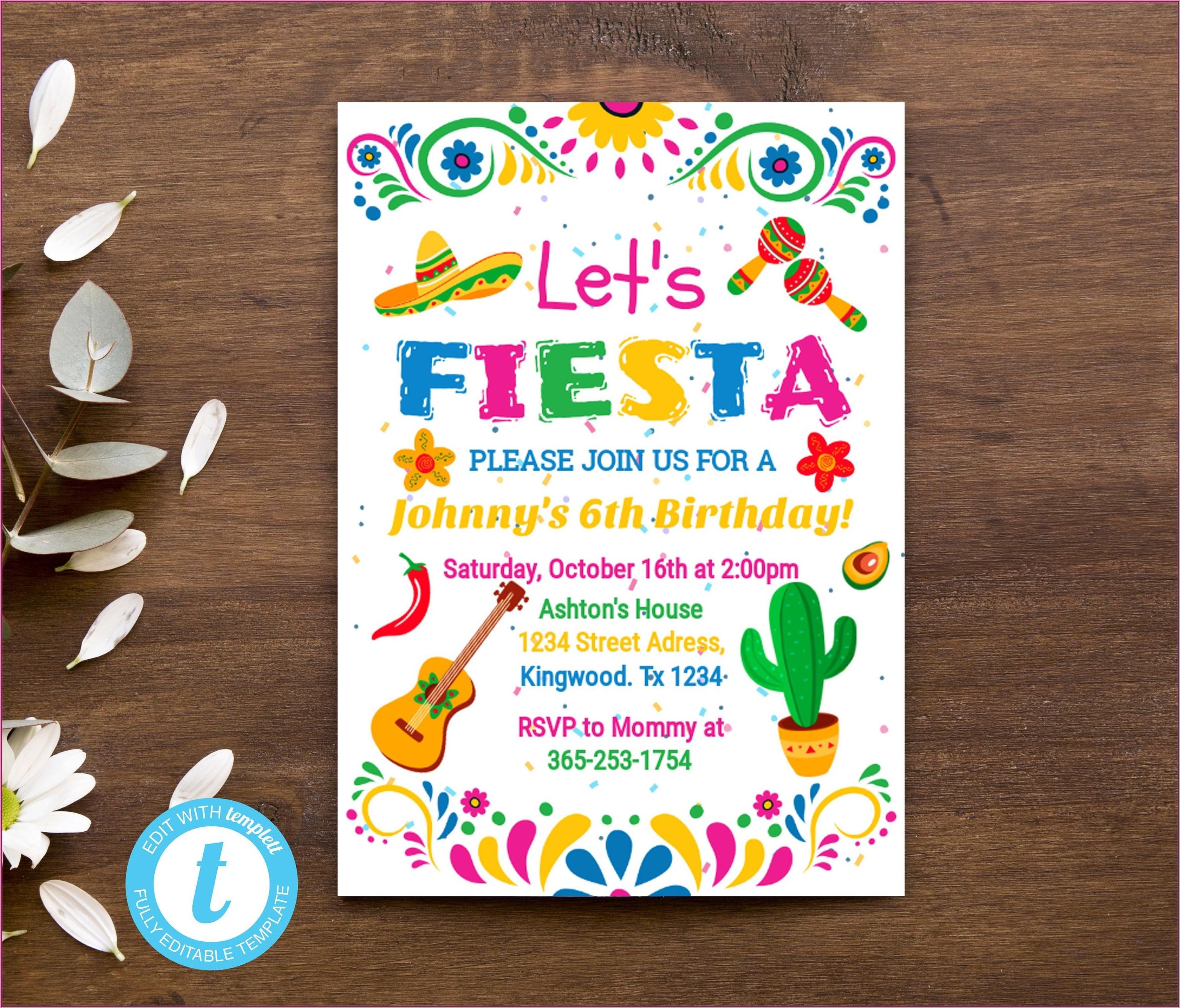 Mexican Fiesta Birthday Invitation Template