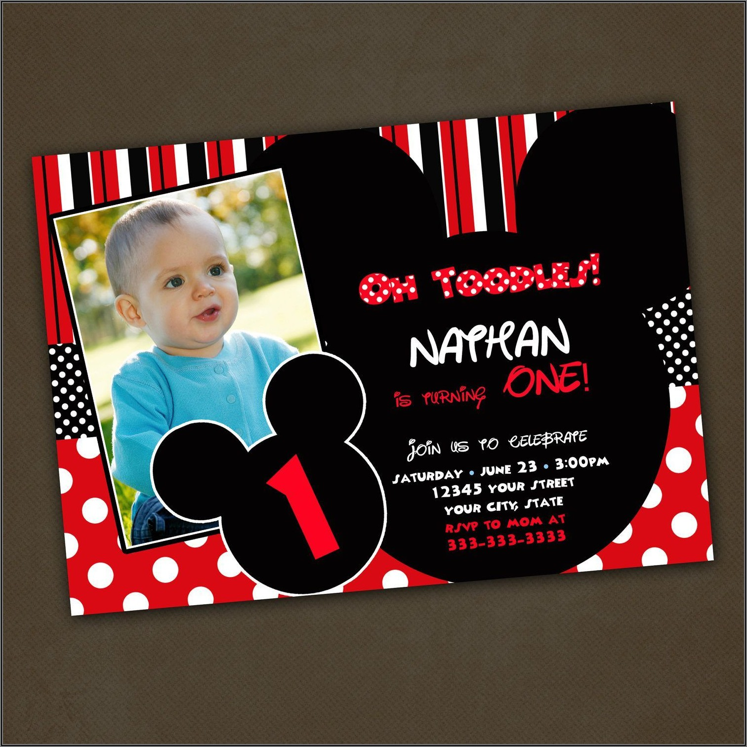 Mickey Mouse 1st Birthday Custom Invitations