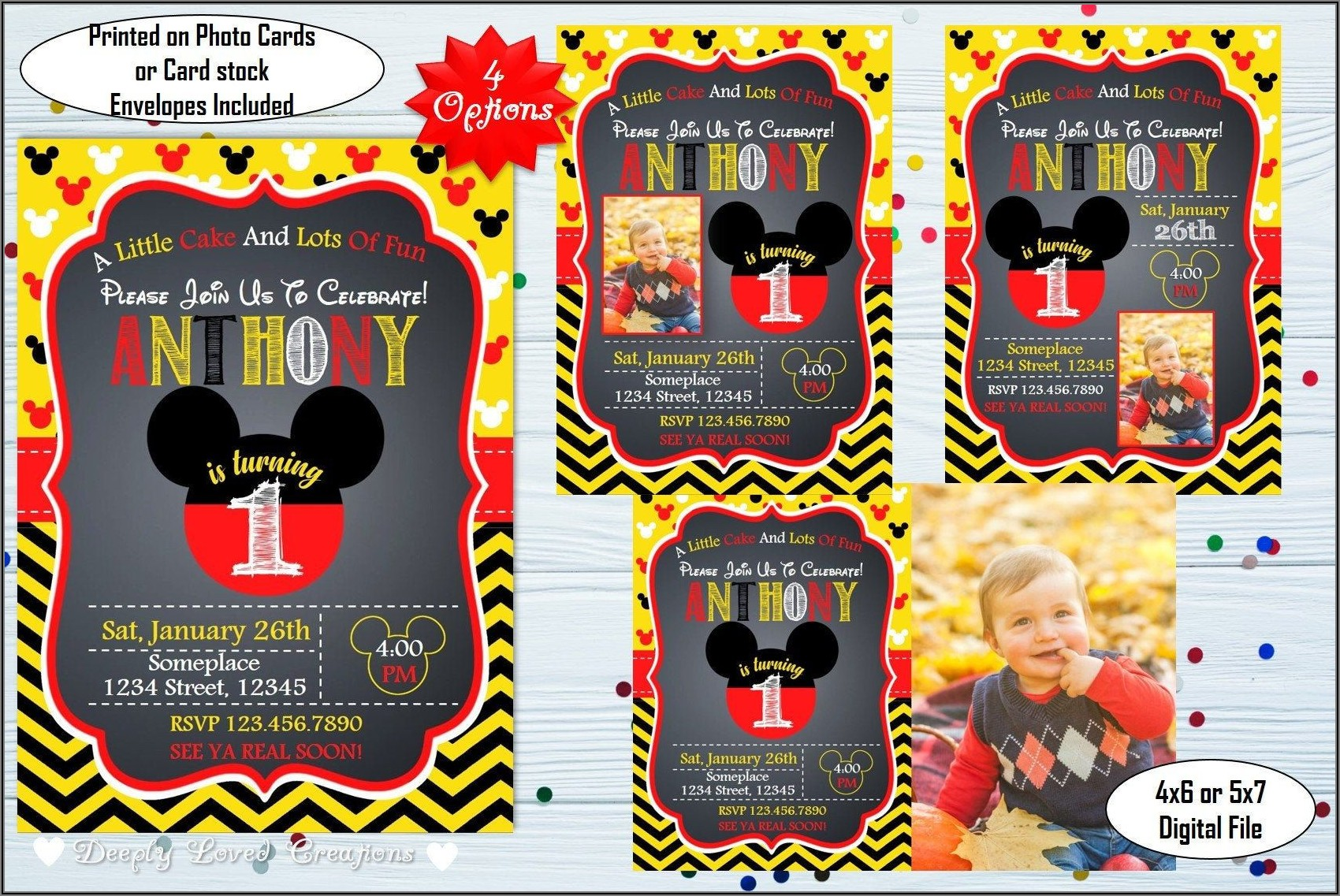 Mickey Mouse 1st Birthday Invitations Etsy