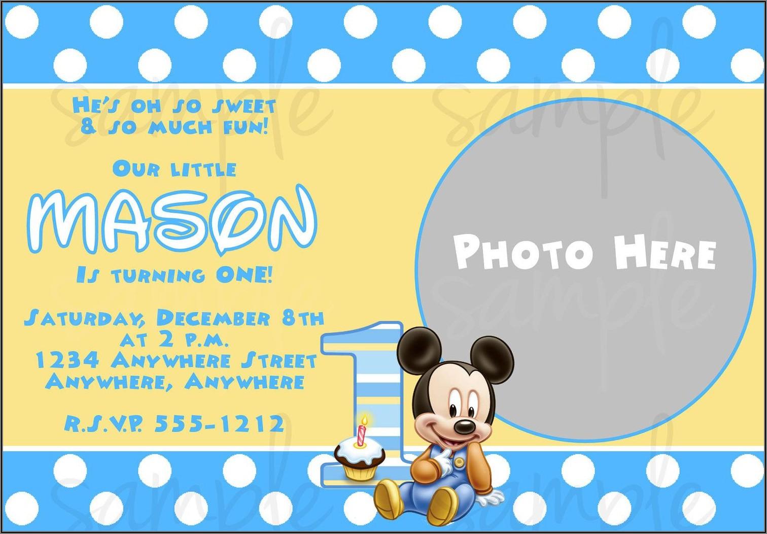 Mickey Mouse 1st Birthday Invitations Free