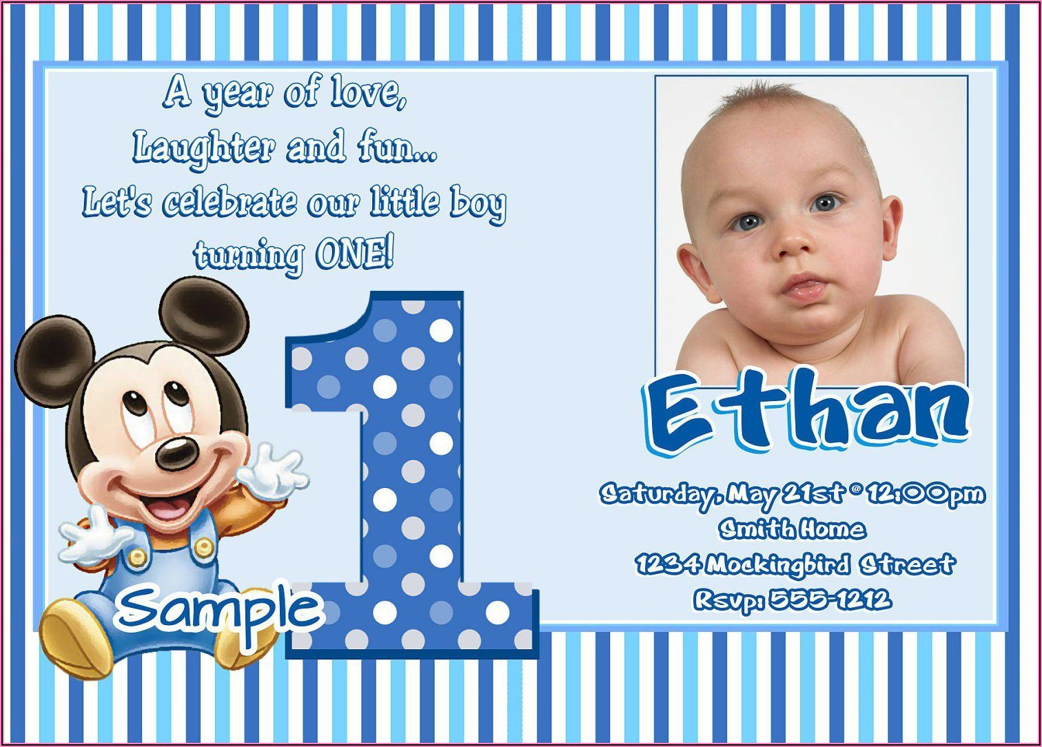 Mickey Mouse First Birthday Personalized Invitations