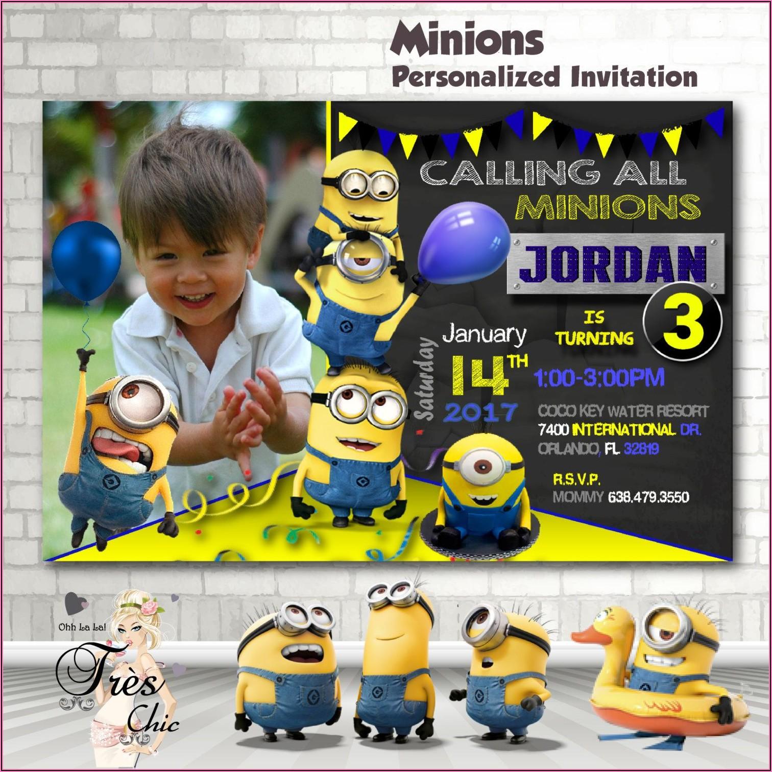 Minion 1st Birthday Party Invitations