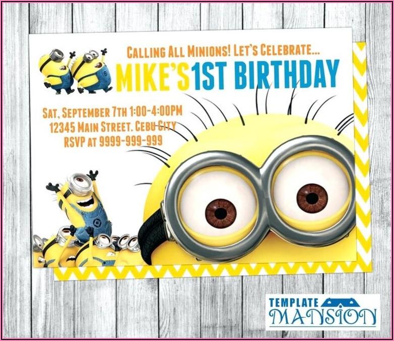 Minion Birthday Invitations Free Template
