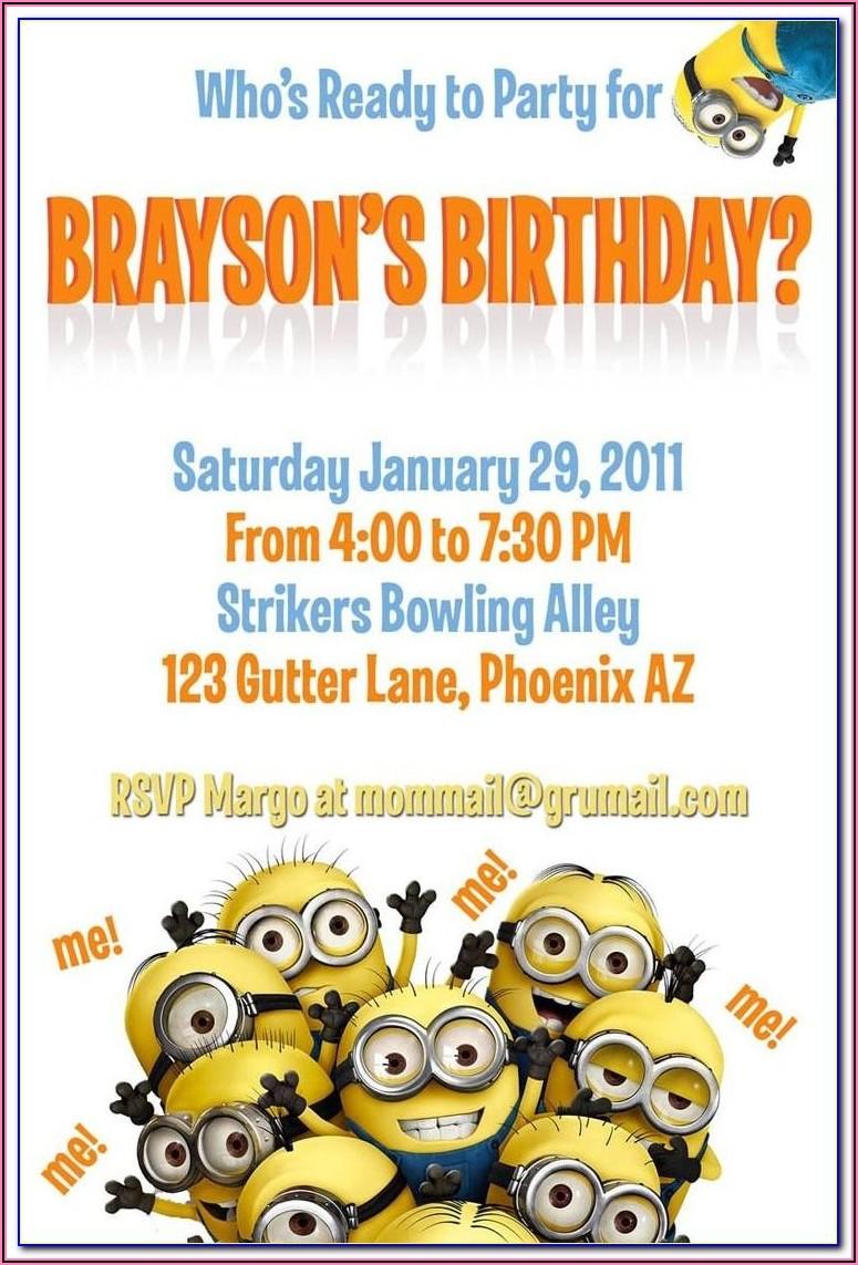Minion Birthday Party Invitations Templates Free